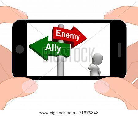 Allied Enemy Signpost Displays Friend Or Foe