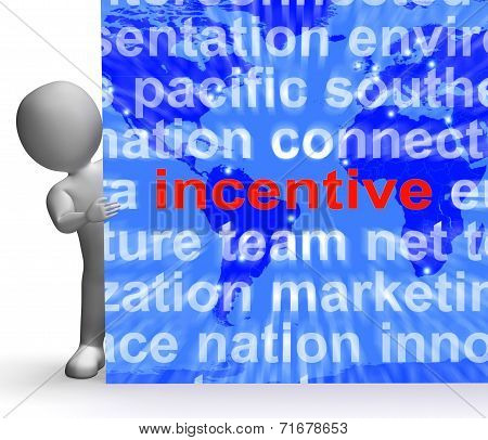Incentive Word Cloud Sign Shows Bonus Inducement Reward