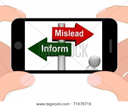 Mislead Inform Signpost Displays Misleading Or Informative Advice