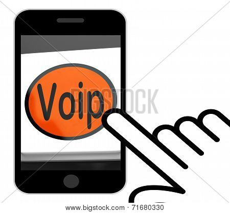 Voip Button Displays Voice Over Internet Protocol Or Broadband Telephony