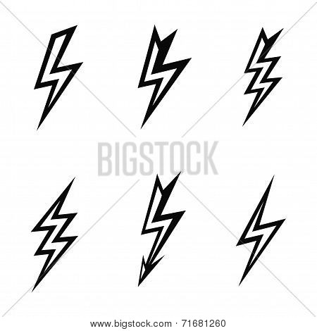 lightning silhouettes on white background