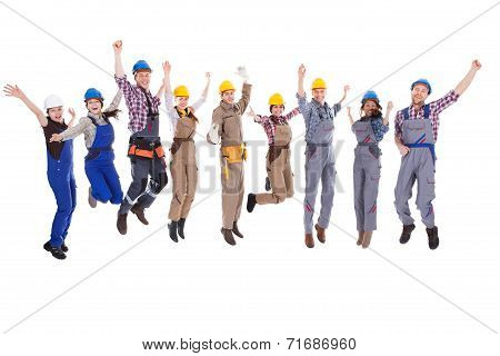 Large Diverse Group Of Workmen And Women