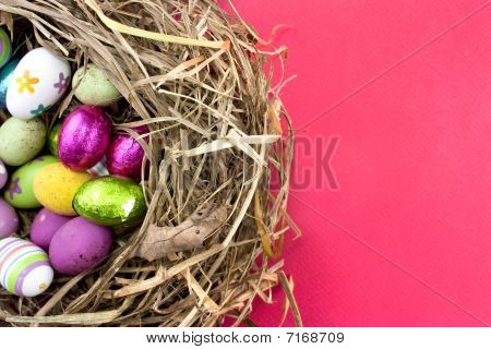 Easter Eggs In Nest On Red