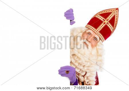 Smiling Sinterklaas with white board. isolated on white background. Dutch character of Santa Claus
