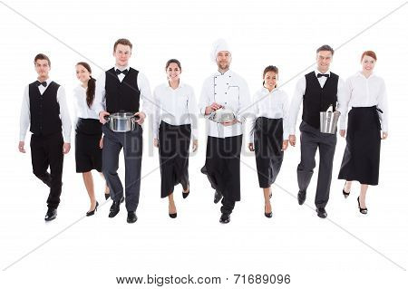 Large Group Of Waiters And Witresses