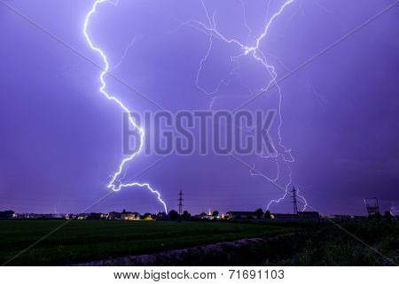 Lightning storm against the city