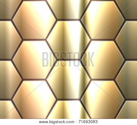 Vector seamless pattern with metallic hexahedron puzzles