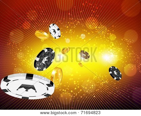 Money and casino coins flying