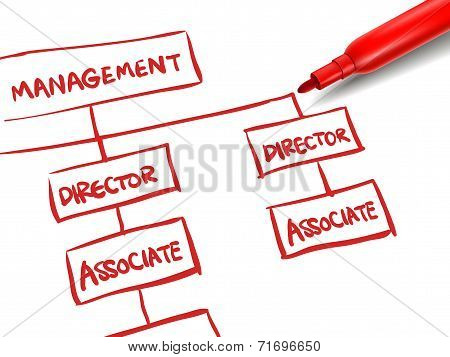 Org Chart With A Red Marker