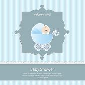baby shower card, for baby boy,blue stripe background with stroller.Vector  illustration. poster