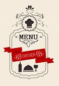 a dinner vintage calligraphic word with wine and food poster