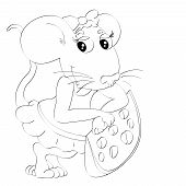 Contour of lovely animation little mouse with slice of cheese on isolated white poster