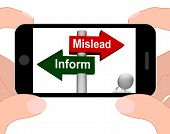 Mislead Inform Signpost Displaying Misleading Or Informative Advice poster