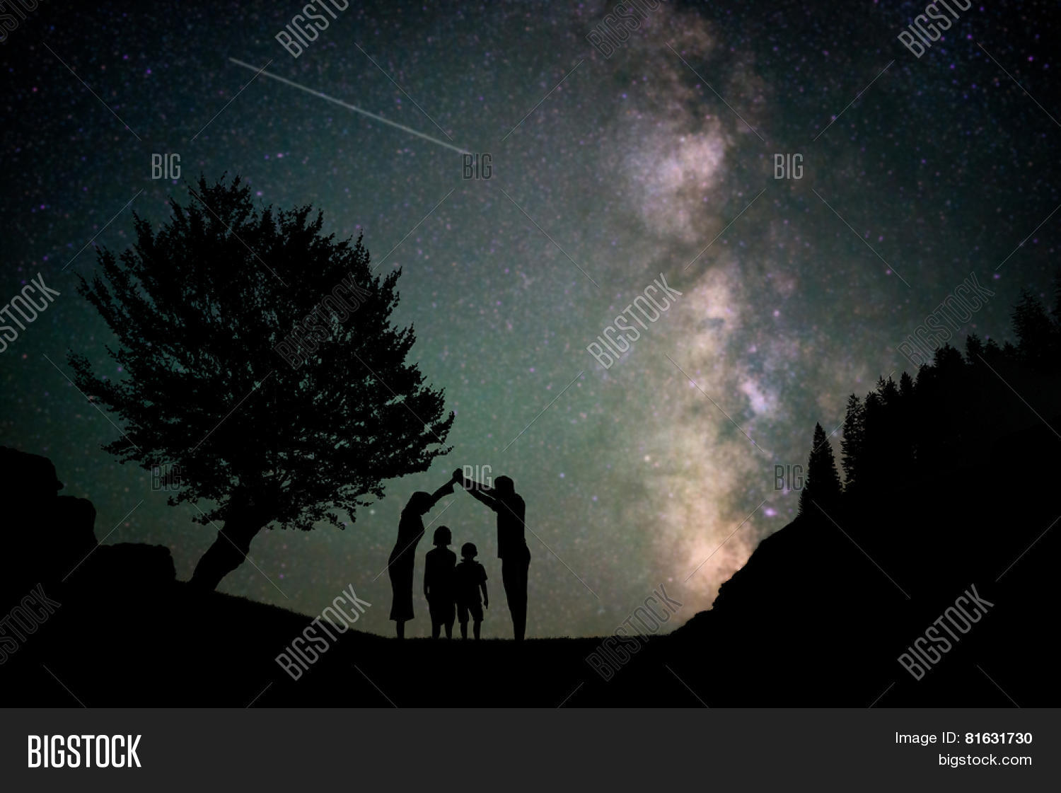 Happy Family Silhouette With Milky Way And Beautiful Night Sky Full Of Stars In Background Making