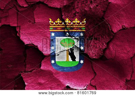 Flag Of Madrid Painted On Cracked Wall