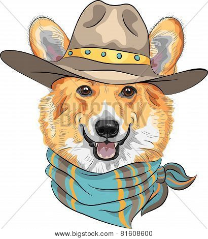 Hipster dog Pembroke Welsh corgi breed in hat and neckerchief poster