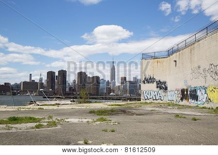Graffiti at abandoned building in Greenpoint, Brooklyn