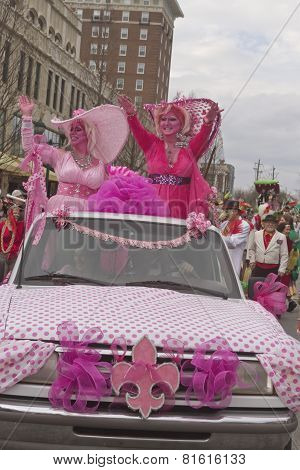 Surreal Pink Mardi Gras Ladies
