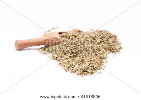 Heap Of Ground Marjoram Leaves Isolated On White Background