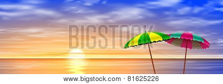 Two Parasols on a Beach with Sunset, Sunrise. Vector EPS 10