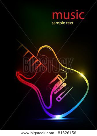 neon ink guitar,  easy all editable