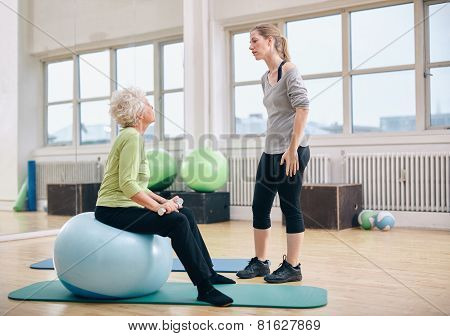 Physical Therapist Instructing A Senior Woman At Rehab