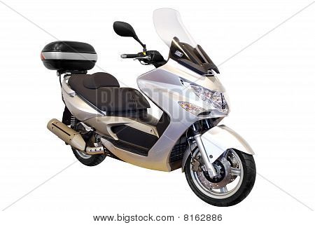 city scooter with trunk isolated