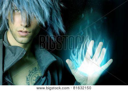 handsome sorcerer that creates a fireball