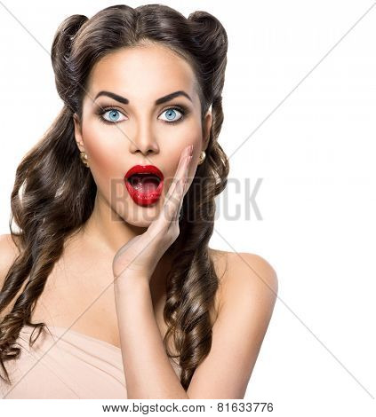 Surprised Retro woman portrait. Beauty vintage excited girl open mouth, isolated on white background. Proposing a product. Emotions. Gestures for advertisement.