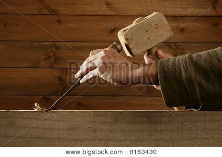 Gouge Wood Chisel Carpenter Tool Hammer Hand