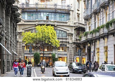 Spring View Of Via Dei Mille Street In Naples, Italy
