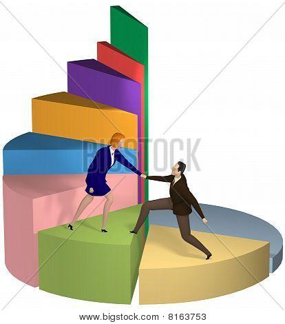 Mujer de negocios ayudando a empresario de la mano hasta el gráfico