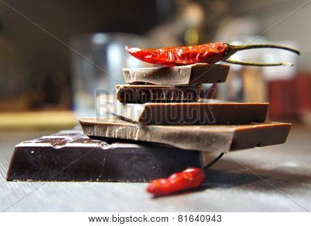 Pieces Of Chocolate With Chili
