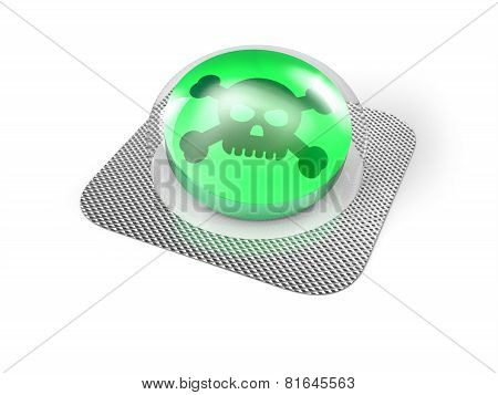 Green poison pill in blister isolated on white