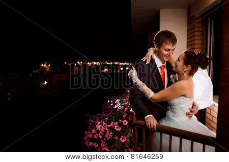 Groom And Bride At Night