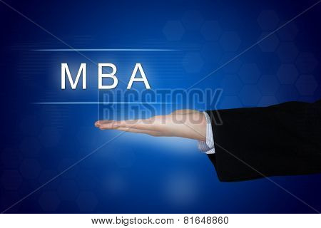 Mba Or Master Of Business Administration Button On Blue Background