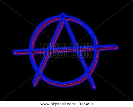 Anarchy Blue / Red Shadow on Black Background
