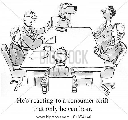 Cartoon of business meeting and dog businessman is listening intently, he is reacting to a consumer shift that only he can hear. poster