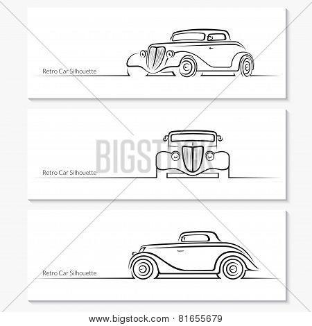 Set of vintage car silhouettes