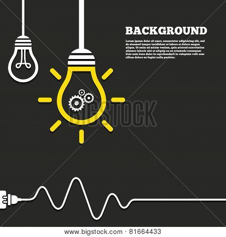 Idea lamp with electric plug background. Cog settings sign icon. Cogwheel gear mechanism symbol. Curved cord. Vector poster