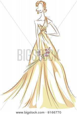 Girl In Gown Sketch