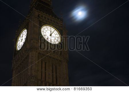 Big Ben in London after midnight