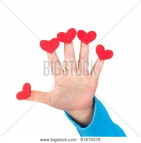 Child Holding Valentine's Day Hearts