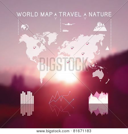 Beautiful Blurred Natural Landscape With Travel Info Graphic Elements