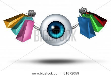 Consumer trends and shopping research and fashion trends follower concept as a human eyeball character holding shop bags as a retail buying symbol for customer protection. poster