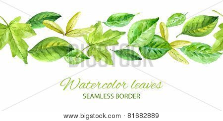 Horizontal Seamless Background With Green Leaves. Watercolor Vector