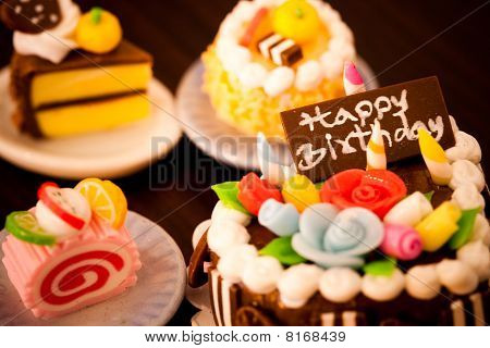 Four sweet birthday cakes. Holidays celebration collection. poster