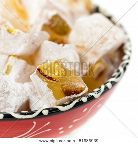 Turkish Delight Nuts Rahat Locum isolated on white background. Selective focus. poster