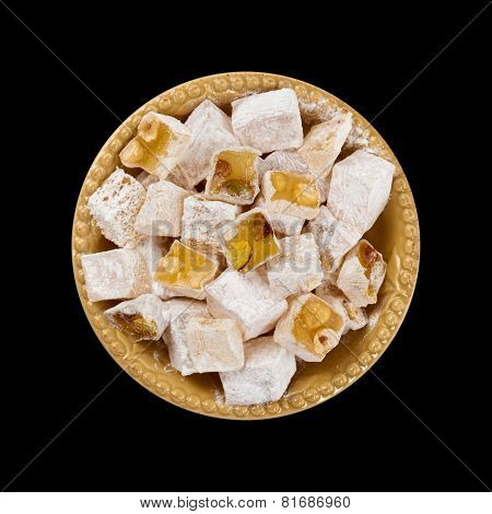 Turkish Delight Nuts Rahat Locum isolated on black background. Selective focus. poster