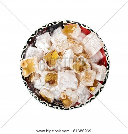 Turkish Delight Nuts Rahat Locum on white background. Selective focus. poster